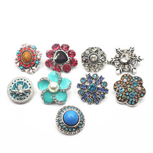 Mix 10pcs/lot Rhinestone Elephant Many Styles 18-22mm Alloy Snap Buttons Fit Women Bracelets Watches DIY Jewelry