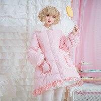 Free shipping 2019 new Brocade dress more lolita new winter warm garden collars female fresh lovely pink jacket down jacket