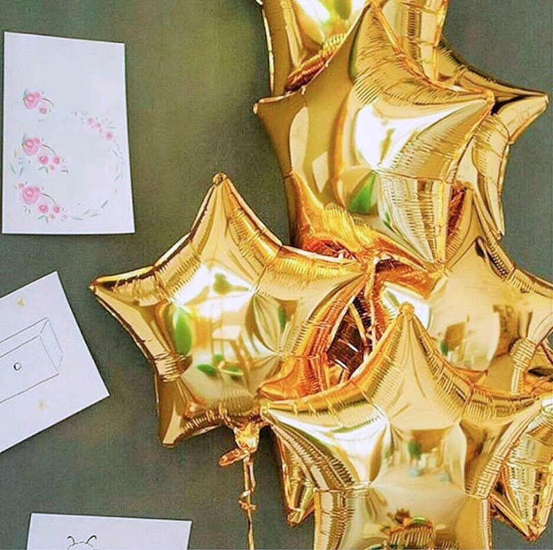 15pcs=18'' Star Balloons+12inch Gold Confetti balls With Black Latex Wedding Decoration Helium Globos Birthday Party Supplies