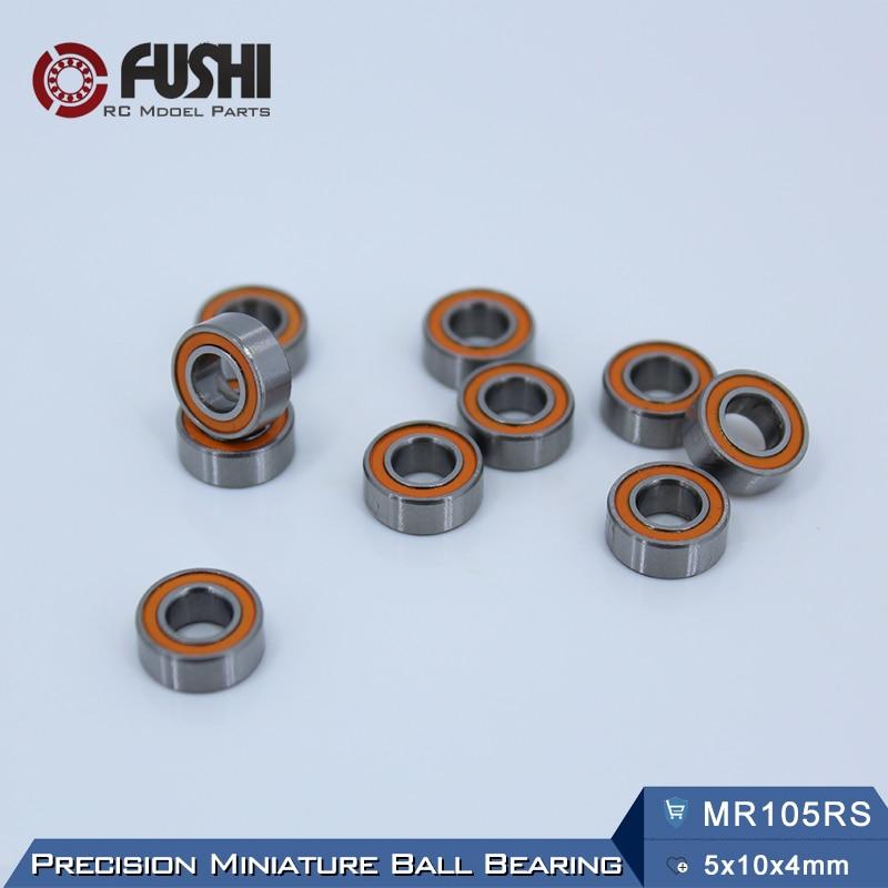 MR105RS Bearing ABEC-3 (10PCS) 5X10X4 mm Miniature MR105-2RS Ball Bearings Orange Sealed MR105 2RS Quality 1pcs 71901 71901cd p4 7901 12x24x6 mochu thin walled miniature angular contact bearings speed spindle bearings cnc abec 7