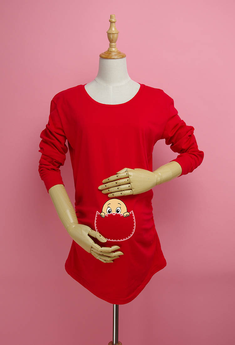 """""""Bebek yüz"""" Peekaboo serisi hamile kadınlar için giysi Noel hediyesi 100% pamuk analık uzun kollu Tişört"""