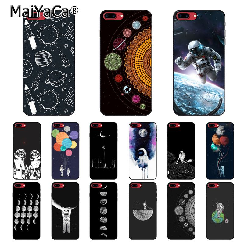 Amicable Maiyaca Funny Space Love Moon Astronaut Star Luxury Case For Iphone X Xs Max 6 6s 7 7plus 8 8plus 5 5s Xr 10 Case Half-wrapped Case