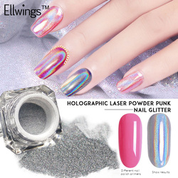 Ellwings Regenbogen Spiegel Nagel Glitter Pulver Perfekte Shinning Holographische Nägel Staub Laser Holo Nägel Pigment Silber Dekorationen