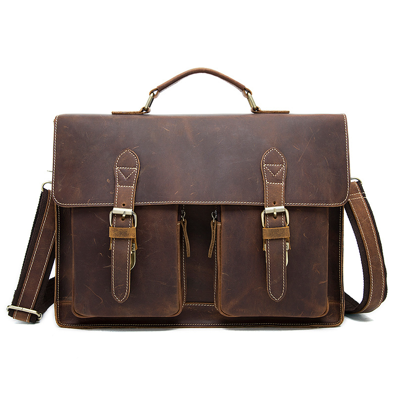 Luxury Brand Designer Crazy Horse Leather Men Handbag Vintage Shoulder Messenger Bags Business Briefcase OK for 14 laptop vintage genuine leather men briefcase bag business men s laptop notebook high quality crazy horse leather handbag shoulder bags