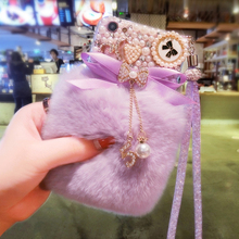 3D Cute Rabbit Hairy Warm Fur Bling Rhinestone Plush Pearl Cover Case For SamsungS6 S7 S8 S9 S10 S20 Plus Lite Note5 8 9 10 20