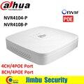 Original NVR4104-P NVR4108-P 4 Ch 8 Ch Dahua NVR Gravador De Vídeo Inteligente Mini 1U tem 4 Portas PoE Rede HDMI 1 VGA/1 HDMI HD NVR