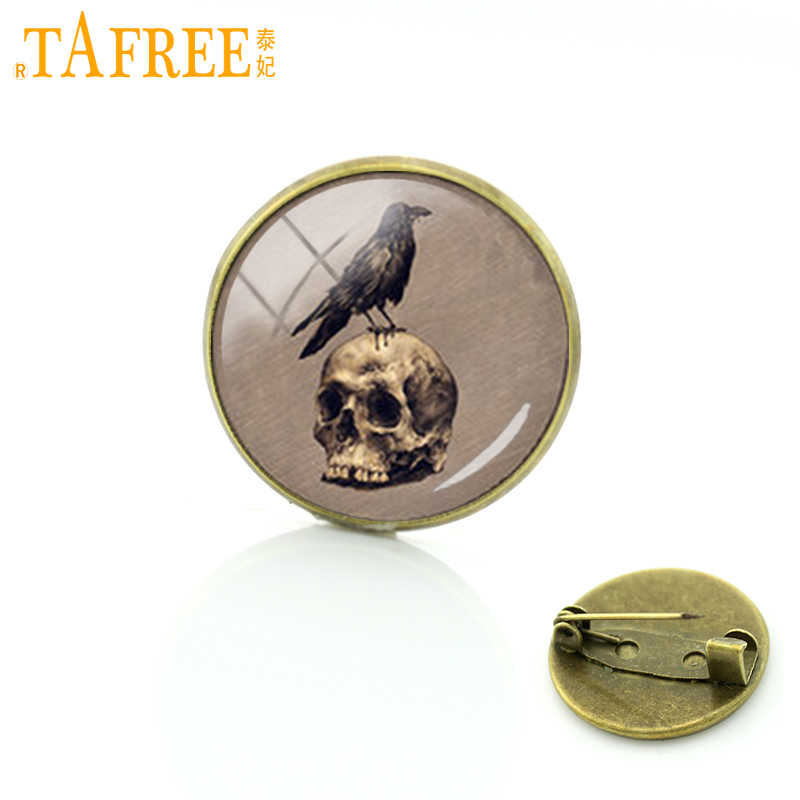TAFREE Popular Black Raven Birds badge Gothic crow vintage photo brooches punk Skull Raven round glass pins jewelry women C1183