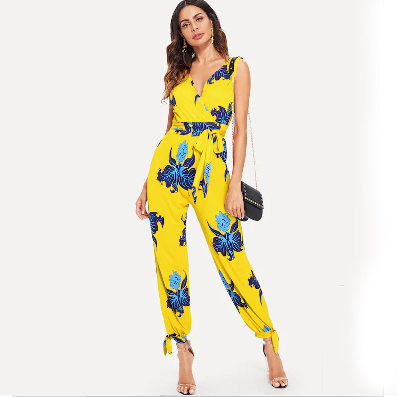WHZHM Party Beach Backless Sexy Bodysuit Women Sleeveless Playsuit Jumper Bodycon Jumpsuit Printed Sashes Beach Bow