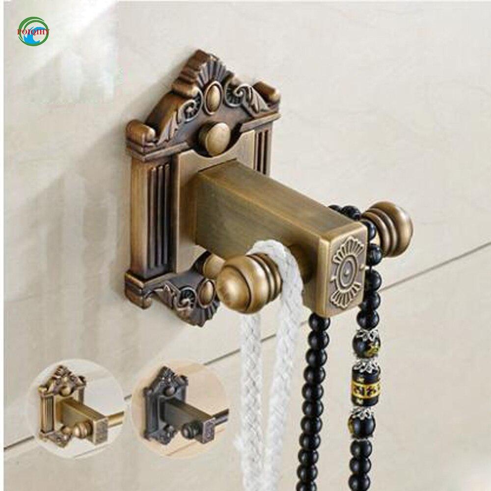 Antique Brass Double Hook Towel Rack Hat Robe Coat Door Hanger Wall Mount Hooks