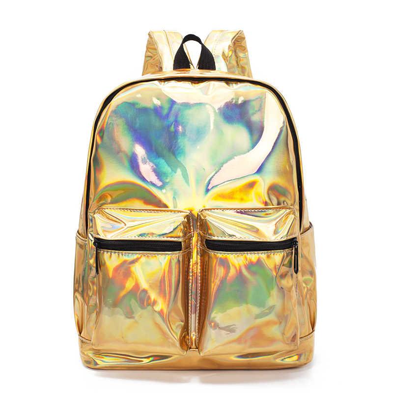 223995e07fb6 ... Женский рюкзак голограмма лазерные Рюкзаки Женские Простые сумки  кожаные голографические рюкзаки высокого качества для девочек  голографические ...