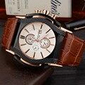Badace Marca Top de Luxo Relógios de Quartzo Data de Exibição Praça Dial Pulseira de Couro Genuíno dos homens relógio de Pulso Relogio masculino 2188