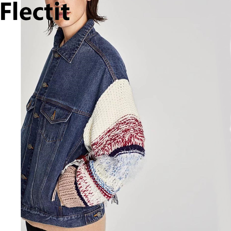 Flectit Contrast Knitted Sleeve Denim   Jacket   Women Fringed Tassel Jeans   Jackets   Oversize   Basic     Jackets   2019