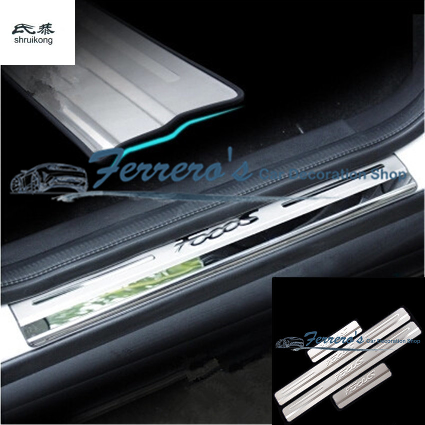 free shipping 4pcs lot stainless steel car stickers of door sill scuff plate for 2012 2013 2014. Black Bedroom Furniture Sets. Home Design Ideas