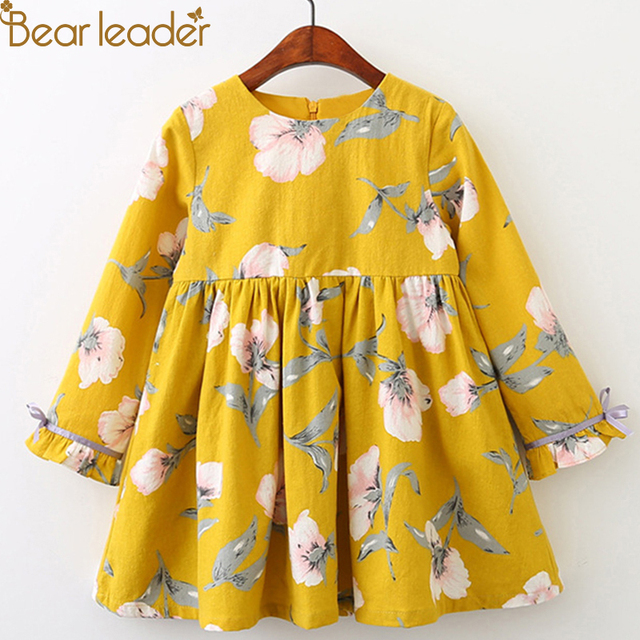 Bear Leader Girls Dress 2019 Brand Princess Dresses Autumn Style Long Sleeve Flowers Printing Design for Children Clothes