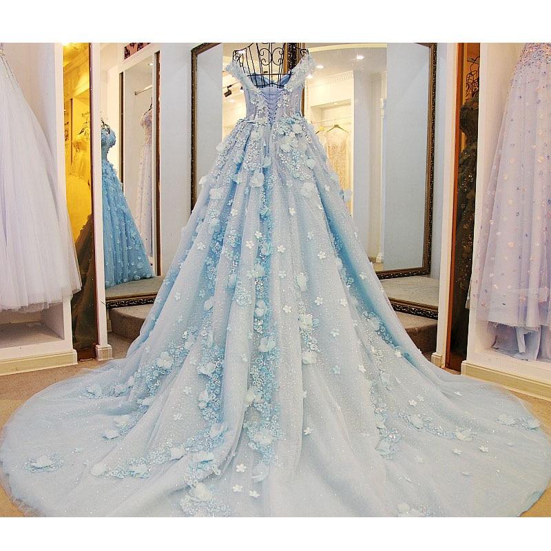 2017 New Long Chapel Train 1m Wedding Dresses Luxury Puffy Ball Gown ...