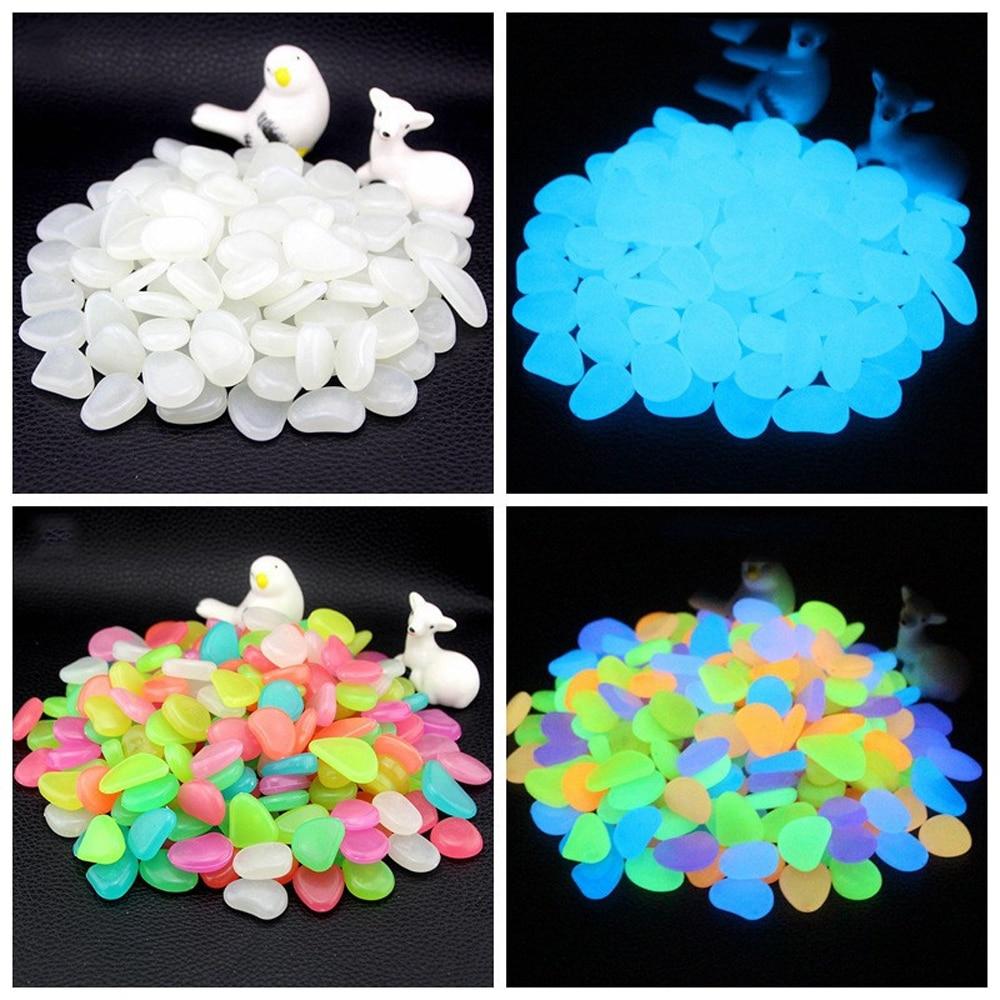 50/100/300Pcs Glow In The Dark Stones Glowing Stones Fluorescent Bright Pebbles Luminous Stones For Aquarium Garden Decoration