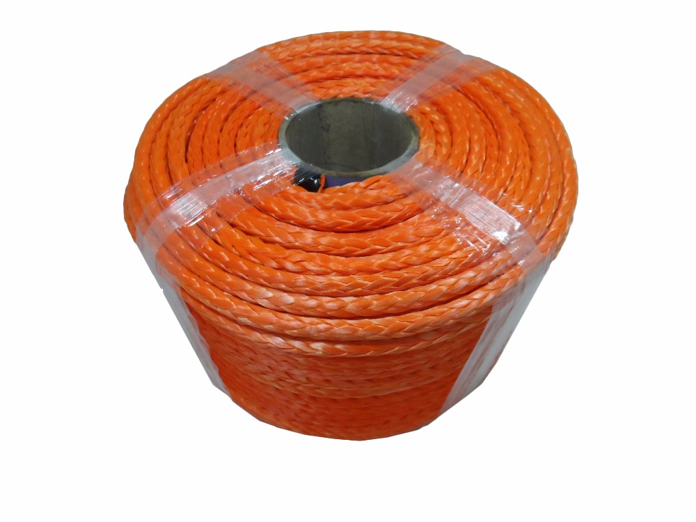 Free Shipping 10mm 100m Orange Synthetic Rope Kevlar Winch Cable UHMWPE Rope Boat Winch Rope