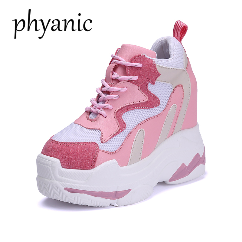 Phyanic Casual Pumps Shoes Women Brand Retro Platform Internal increase Sneaker Wedges High Heels footwear chaussure Size 34 3