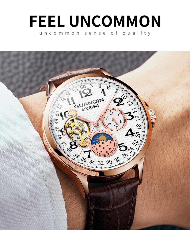 HTB1LL1raf1H3KVjSZFBq6zSMXXak 2019 Fashion GUANQIN Mens Watches Top Brand Luxury Skeleton Watch Men Sport Leather Tourbillon Automatic Mechanical Wristwatch