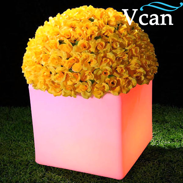 ФОТО Waterproof Outdoor PE Plastic LED Light Flower Pot VC-F3838 for the home garden really nice choose