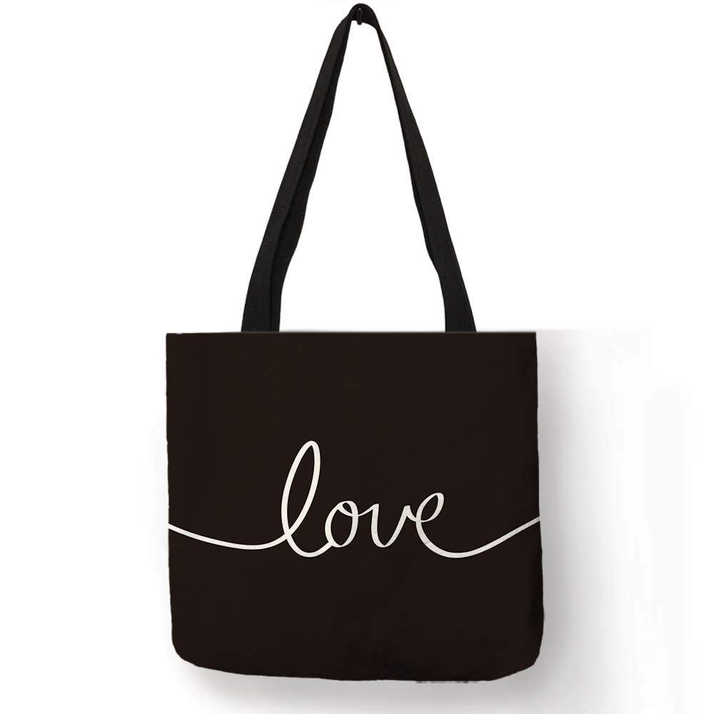 Dark Coffee Color Students School Book Handbag Freedom Love Letter Print Cloth Bag for Shopping Grocery Good Handmade Tote Bags