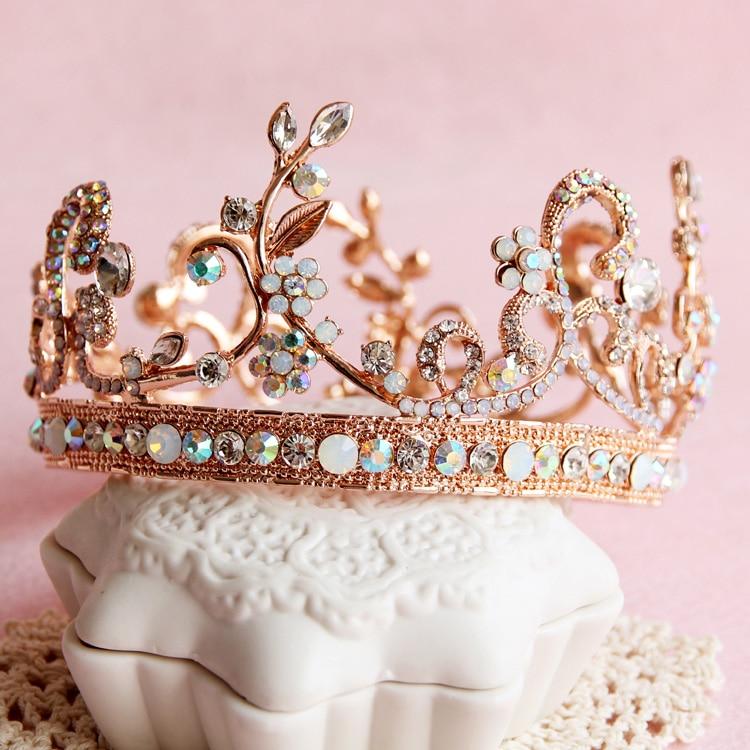 Dower me 2015 Rose Gold Crystal Bridal Tiara Crown Baroque Princess Wedding Prom Headband Hair Accessories Jewelry