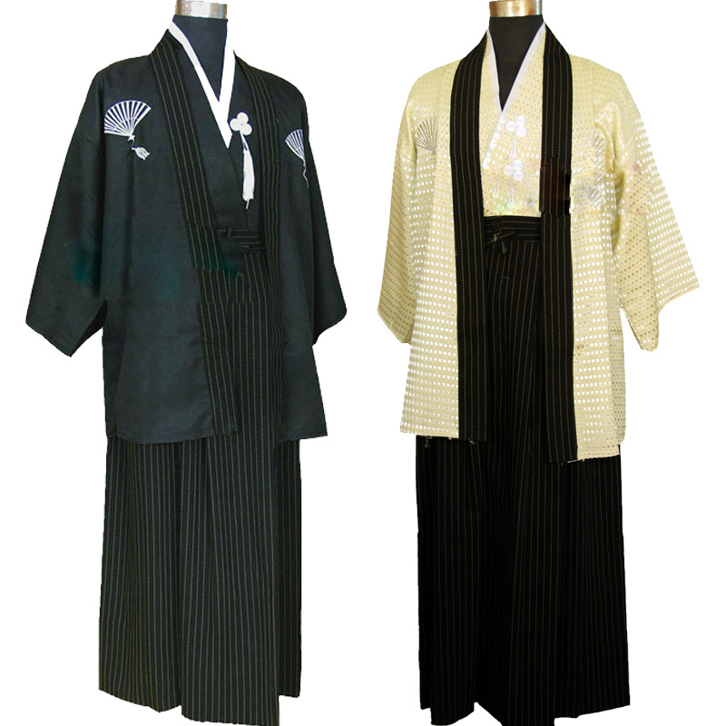 Men Traditional Japanese Kimono Samurai Clothing with Obi Traditional Yukata Haori Halloween Costume Stage National Clothing 90