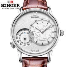 Suíça relógio masculino marca de luxo relógios binger movimento quartzo pulseira couro à prova ddouble água duplo fuso horário relógio BG 0389 6