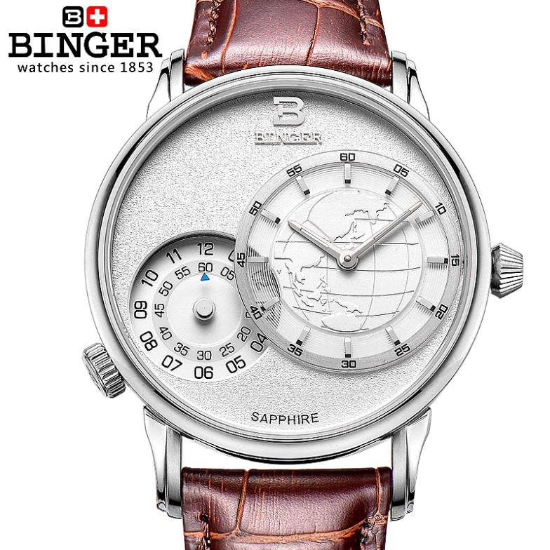 Switzerland men's watch luxury brand Wristwatches BINGER 18K gold quartz leather strap waterproof clock BG-0389-6 switzerland watches men luxury brand wristwatches binger 18k gold quartz leather strap waterproof bg 0389 a6