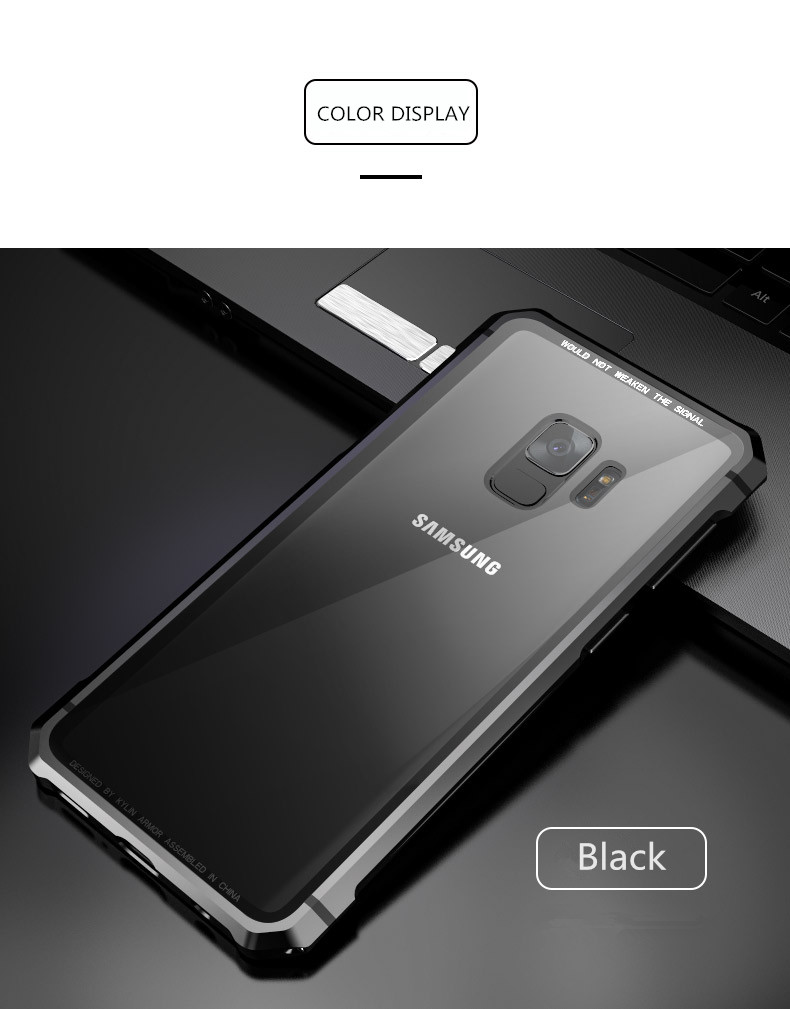 Samsung S9 Plus Shockproof case clear tempered glass back cover  diamond metal bumper (12)