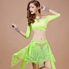 2017 Sex Women Lady Belly Dance Costumes 6Pcs(Top&Free Leggings&Waist Belt&Socks) Bollywood Stage Performance Dancewear D1383