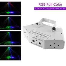 6 Ogen Rgb Full Color Led Laser Beam Patroon Licht Effect Disco Club Dj Ktv Partij Bruiloft Scanner Dj Apparatuur laser Show Systeem(China)