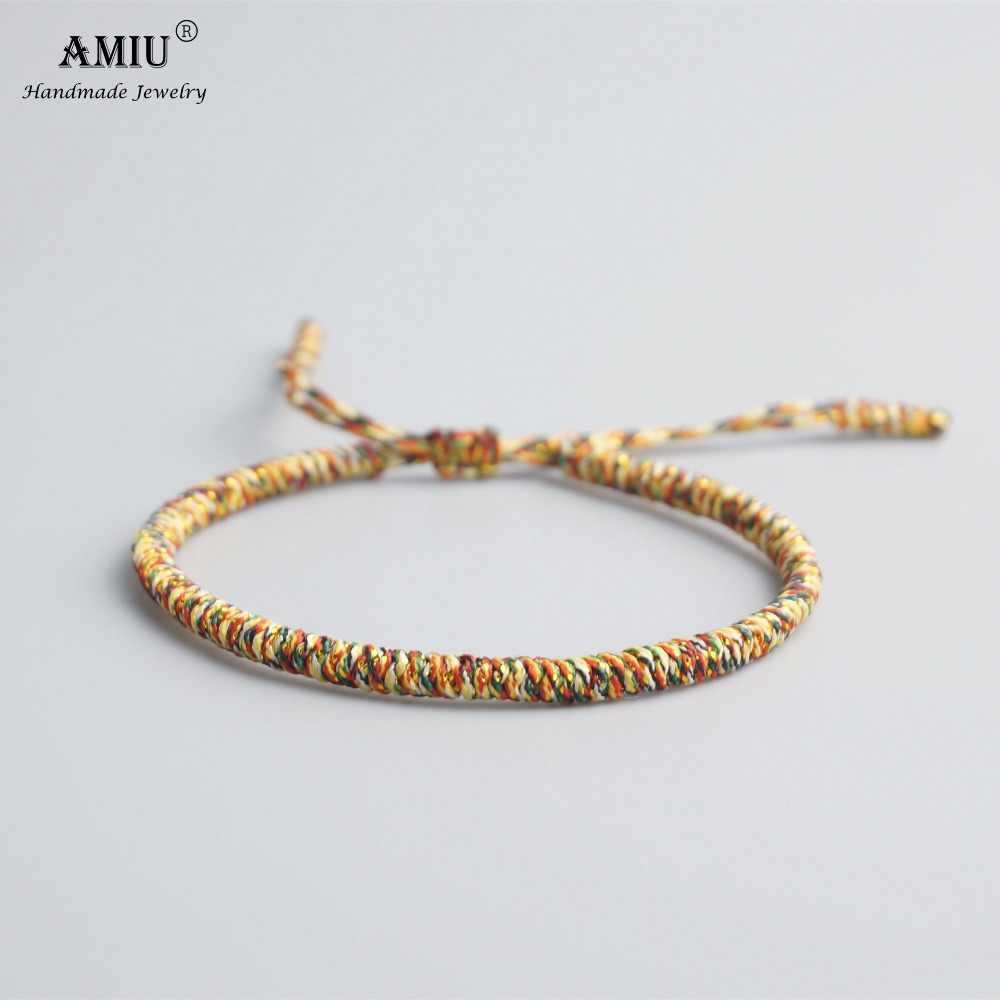 AMIU 25 kolory tybetański buddyjski miłość talizman tybetański bransoletki i Bangles dla kobiet mężczyzn ręcznie węzłów liny Budda bransoletka