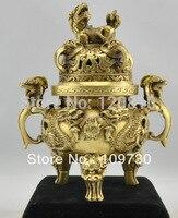 SALE China Bronze Dragon Lucky Incense Burner Censer Statue