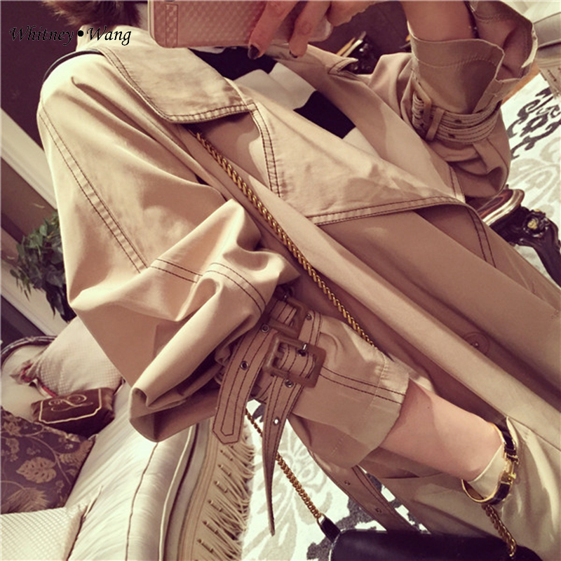 Casual Streetwear Boutonnage Wang Mode Outwear Automne Longtrench Coréen Whitney Style Printemps Double Manteau 2018 Femmes zXnRZOq