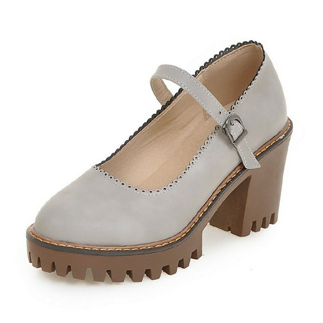 Tamanho grande 34-43 Mary Jane Sapatos de Salto Alto Mulher Robustas Bombas de Casamento Das Senhoras Fivela Mulheres Sapatos Primavera Outono Bombas da plataforma