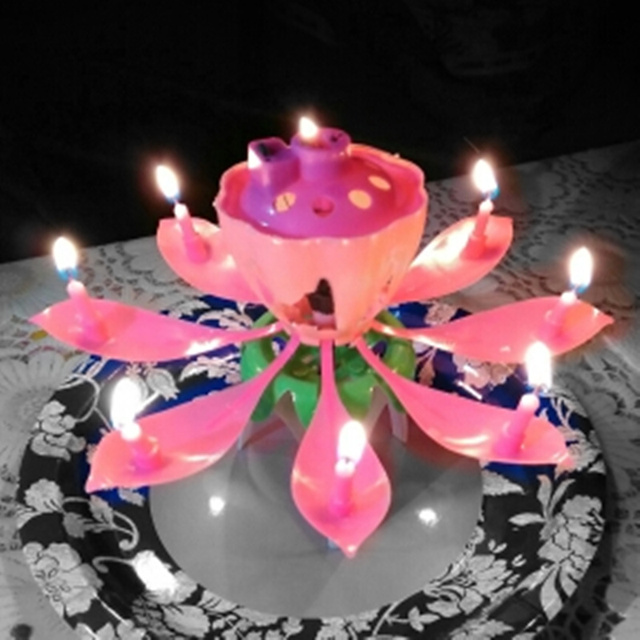 Romantic LED Candles Musical Beautiful Musical Lotus Flower Happy