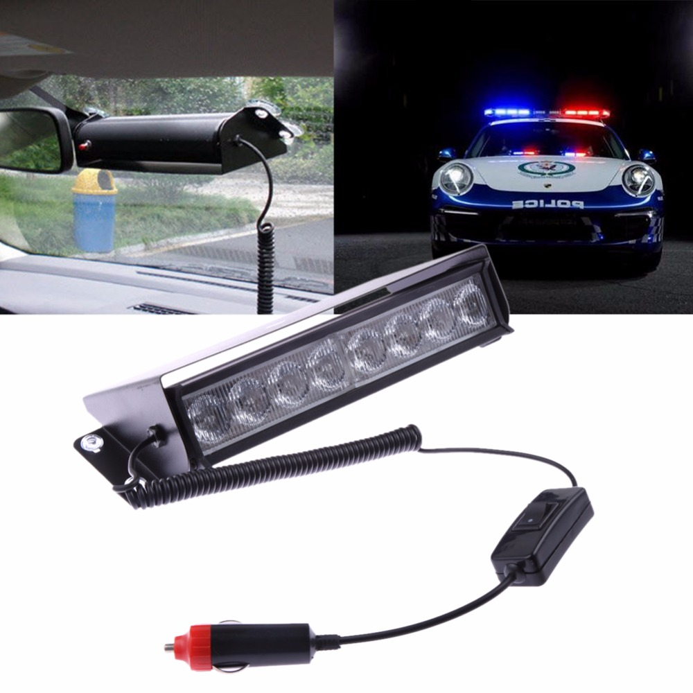 Car-styling Police Strobe Flash Light Bar 8 LED Red/White Automotive Dash Emergency Vehicle Warning Alarm Beacon Lamp for Auto