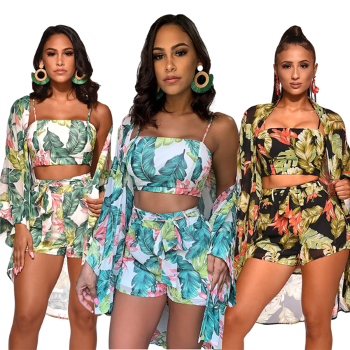Hirigin Women Floral 3Pcs Set Crop Top Short Trousers Long Sleeve Cape New Summer Arrival Clothing Women Set Ladies Floral Print