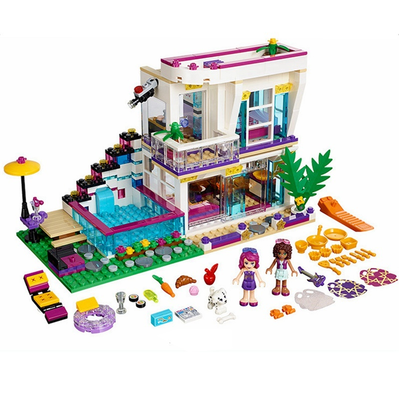 Diy Girls Friend Series Livis Pop Star House Building Block Compatible with playmobil Andrea mini-doll figure Toys for children