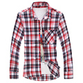 2016 The New Male Camisa Spring And Autumn Plaid Cotton Men's Shirts Square Collar Fashion Casual Long Sleeves For Man Slim Fit
