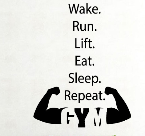 fitness vinyl wall decal boy quote run lift eat gym