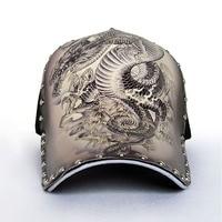 운명 최고 남성 드래곤 패턴 야구 모자 세련된 레트로 세련된 Tatto 남성 모자 캐주얼 블랙 리벳 패션 트렌드 캡 MZ112