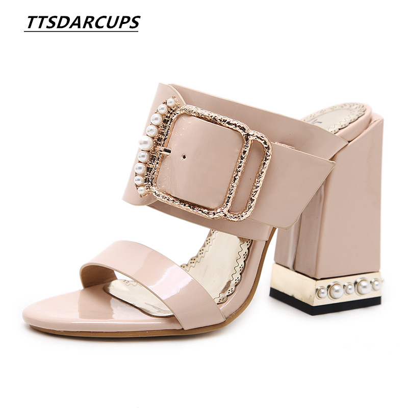 New toes sandals in spring and summer High heel in a word buckle Women's Shoes 34-40 yards Sexy night shop Pearl High heel tow 2018 new womens sexy super high heel peep toes night club shoes striped hollow out sheepskin leather sandals large size zapatos