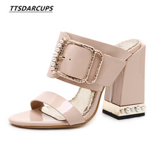 b1074afcf3f8 TTSDARCUPS New women shoes sexy High heel pearl Fashion buckle high heel  shoes Large size 35