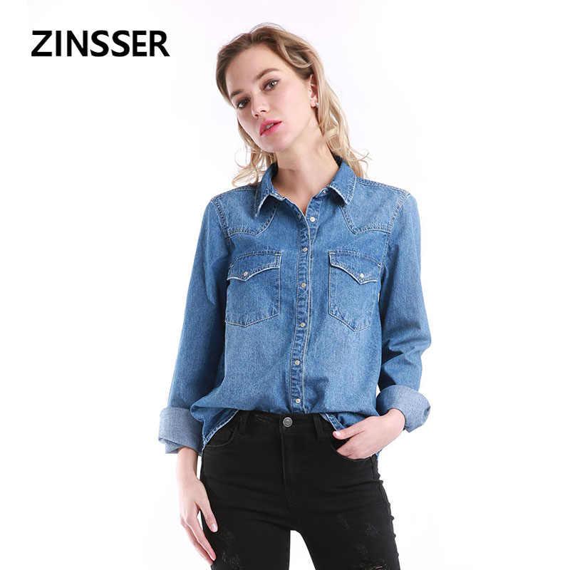 סתיו חורף נשים ג 'ינס חולצה בסיסית רופף מזדמן ארוך שרוול עם 2 כיסי 100% כותנה שטף כחול נקבה ליידי חולצה למעלה