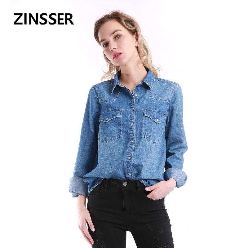 Autumn Winter Women Denim Basic   Shirt   Loose Casual Long Sleeve With 2 Pockets 100% Cotton Washed Blue Female Lady   Blouse   Top
