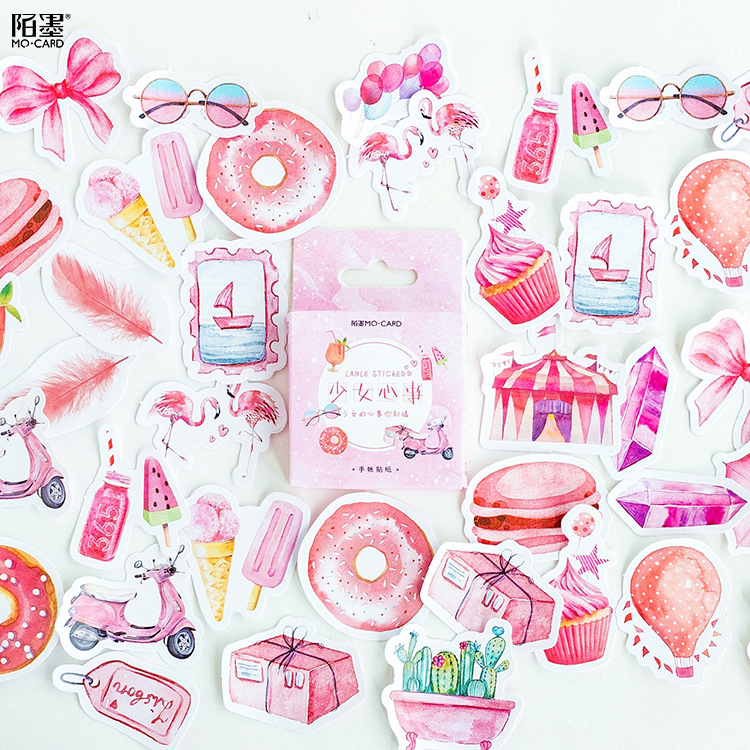 45pcs/pack Pink Summer Theme Decorative Stationery Adhesive Stickers Label Diary Stationery DIY Album Sticker Set