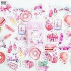 Pink Summer Theme Decorative Stationery Adhesive Stickers Label Diary Stationery DIY Album Sticker Set