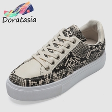 DORATASIA New Fashion Snake Veins Flat Platform Shoes Woman 2019 Autumn Casual lace-up Flats Women Casual Shoes Woman 36-41 цены онлайн